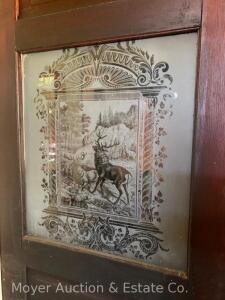 "Interior Wood Door with Stag etched glass, 32""wide x 83 1/2""high, incl. hinges & knob only"