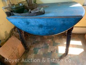 "Antique Drop-leaf Kitchen Table, old blue paint, 44"" x 26"" top with leaves down, oak"