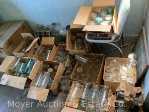 Group of Assorted Canning Jars, quite a few shorter bail-top jars plus many others, 11 boxes