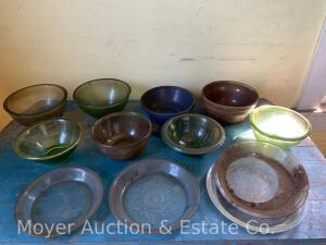 "Group of Mixing Bowls & Pie Plates: 2 pottery bowls, 4 green glass, 2 clear glass, & 4 glass pie plates-8"" & 9"""