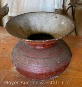 Cast Iron Spittoon with white enamel interior & red painted exterior