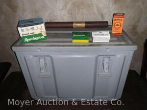Large Metal Ammo. Box w/lid from .50cal M2 with box of Remington 20ga.shells & box of .22 longs