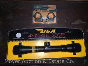 "BSA 4x32 Rifle Scope, new/never used, fully coated optics, model SW4X32CP, with Weaver 1""scope rings"