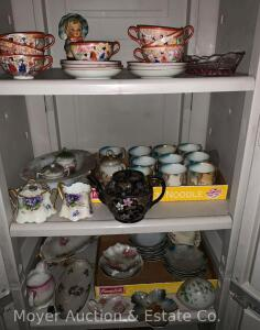 Group of Antique China incl. oriental cups & saucers, milk glass Easter egg, etc.