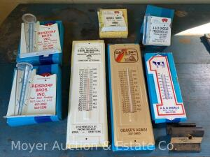 Group of Promotional Rain Guages & Thermometers, all are new in box & local, all are metal except the 2 #1 thermometers