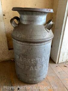 "Sparks Dairy Buffalo NY milk can with lid, 19""h overall"