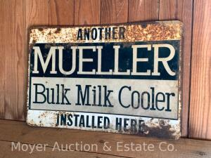 """Mueller Bulk Milk Cooler"" metal advertising sign, single-sided, rusty, 12""h x 18""w"