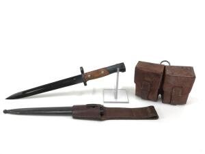 "Yugoslavian Zastva M48 Bayonet with Leather Pouch, Appears in Good Condition with Scabbard, 15"" Overall Length"