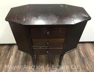 "Martha Washington-style Sewing Stand, 3dr. with lift-top sides, nice condition with one drawer knob missing, 25""wide"