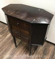 "Martha Washington-style Sewing Stand, 3dr. with lift-top sides, nice condition with one drawer knob missing, 25""wide - 3"