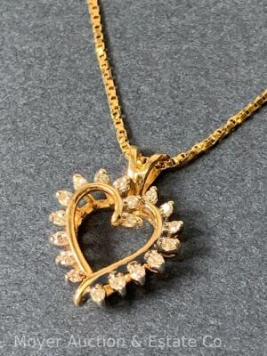 "14K Gold Heart-shaped Pendant with 18 Diamonds on 14K Gold Chain 20""long, box-shape; 3.3dwt"