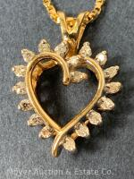"14K Gold Heart-shaped Pendant with 18 Diamonds on 14K Gold Chain 20""long, box-shape; 3.3dwt - 2"