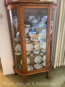 "Oak Curved Glass China Cabinet, oak shelves, 39""wide x 66""tall, nice condition"