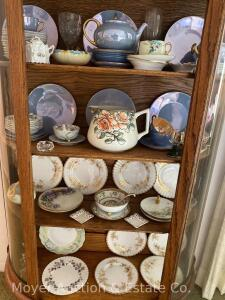 "Group of China in china cabinet includes hand-ptd., Bavaria blue luster, Nippon mayo set, 8 Royal Albert ""Antionette"", etc."