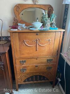"Antique Fall-front Desk/Chest with oval beveled mirror back (side pieces of mirror not attached/need repair), 30""wide x 58""tall"