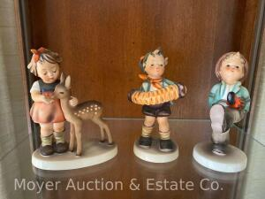 "3 Hummel Figurines: ""Accordion Boy"" #185 (repaired); & ""Happy Traveller"", #109; & ""Friends"" #136/1 (repaired ear); all 5""tall"