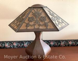 "Hammered Copper Table Lamp with matching shade, antique, no visible maker markings, good condition, overall 22""tall, see description for add'l sizes"