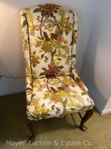 Pair of Ethan Allen Upholstered Side Chairs, floral themed with birds, both good condition with Queen Ann legs; bid is each times 2