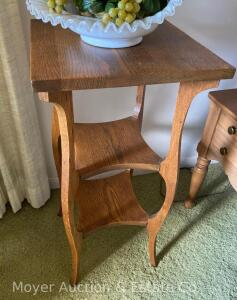 "Oak Stand, 14""square top, 30""tall, nice condition"