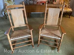 Pair of Cracker Barrel Oak Porch Rockers, both good condition, bid is each times 2