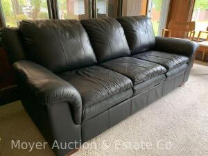 "Black Leather Sofa, 86""wide, good cond., normal weather"