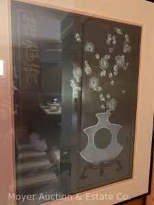 "Framed Lithograph ""Peach Blossom Vase"" #126 of 400, framed, overall: 32"" x 26"""
