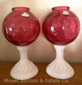 "Pair of Fenton Cranberry ""Coin Dot"" Ball Vases on Milkglass Pedestal Base, each are one piece, 8 1/2""tall, foil labels, exc. cond., bid is for both"