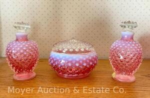 3pc. Fenton Cranberry Hobnail Dresser Set: covered pin dish & pair of scent bottles, all nice condition, foil labels on bottles