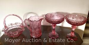 "4 Pink Glass Pcs.: Fenton ""Thumbprint"" 8""t basket (unmkd), 2 Fenton 7 1/2""t ""Cabbage Rose"" compotes, & Mosser ""Inverted Thistle"" 6 1/2""t pitcher"