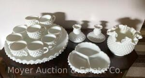 Group of Hobnail Milkglass, 17pcs. incl. pr. candleholders, divided dish, rose bowl, serving bowl & 12 cups