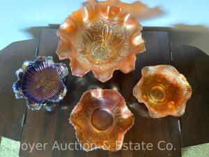 "4pcs. of Carnival Glass: 3 marigold bowls (see description for patterns) & 1 Fenton ""Butterfly"" in amethyst"