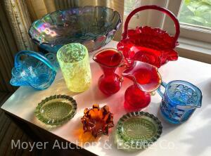 "Group of Colored Glass incl. Fenton Red ""Thumbprint"" 8""t Basket, sm. Blue Basket, Amberina pitcher, Vaseline Glass, Blue Centerpiece Bowl, etc."