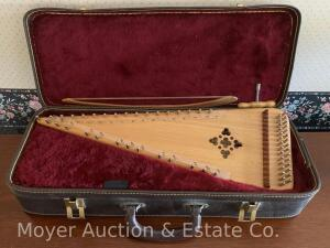 Unicorn Strings Handcrafted Dulcimer, dated 1986, nice condition, incl. bow, tuning wrench & carry case