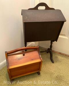2 Sewing Stands/Wood Caddy