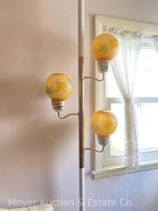 3lite Pole Lamp with floral decorated ball shades, works