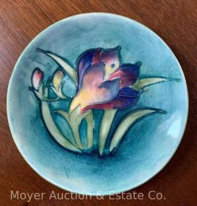 "Moorcroft Pottery Dish w/incised flower decoration, 4 1/2""w"