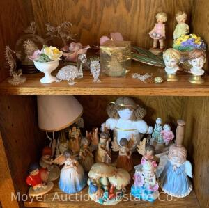 2 Shelves of Figures, Angel Lamp, Flowers, Glass Animals, etc.