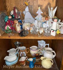 2 Shelves of Small Pitchers & Figures