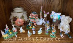 Group of Miniature Easter & Rabbit Figures plus Ptd. Glass Covered Jar