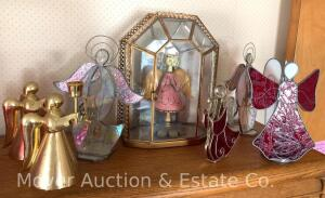 Group of Stained Glass Angel Figures & Tin Angel in Glass Case