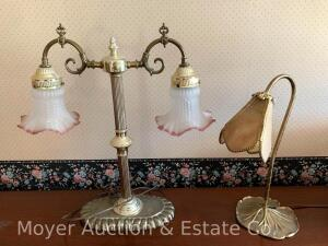 "Decorative Metal Table Lamp w/stained glass shade, 15""t, brass tone, needs bulb & Metal Dbl. Light Table Lamp, 19""tall"