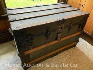 "Flat-top Trunk w/liner, good original condition, 32""w x 22""t, (trunk only-records sell separately)"