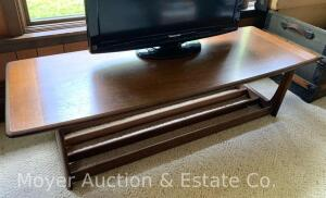 "Walnut Coffee Table, mid-century style, unmarked, 54"" x 21"" top"