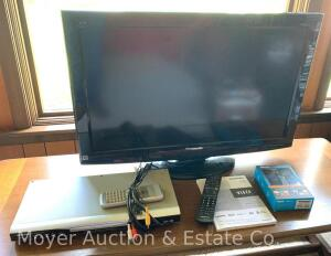 Panasonic LCD Television, model TC-L32C22, new 2010, with remote, Roku Express (appears new), & Hitachi DVD player