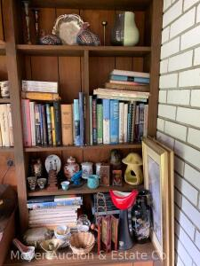 Group of Oriental, Decorative, & Books on shelves