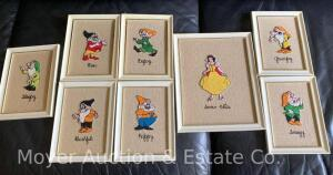 "Vintage ""Snow White & 7 Dwarves"" needlework pictures, plastic frames, clean & nice cond., 11"" & 8"" tall"
