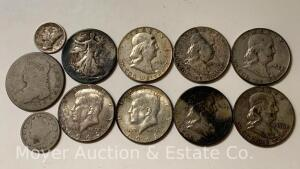 Group of 9 Silver Half-Dollars (1-1968), a 1941 Mercury Dime & 1906 & '08 V-nickels