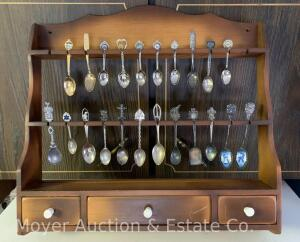 Spoon Rack & Collection of Spoons, most silverplated