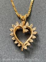 "14K Gold Heart-shaped Pendant with 18 Diamonds on 14K Gold Chain 20""long, box-shape; 3.3dwt - 7"