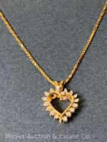 "14K Gold Heart-shaped Pendant with 18 Diamonds on 14K Gold Chain 20""long, box-shape; 3.3dwt - 14"